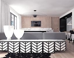 Projekt 12 - Duży biały czarny salon z jadalnią, styl nowoczesny - zdjęcie od Pracownia projektowania wnętrz Loci