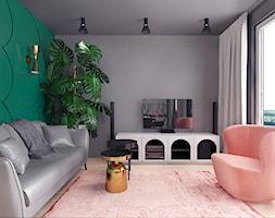 projekt 10 - Średni szary zielony salon z tarasem / balkonem, styl nowoczesny - zdjęcie od Pracownia projektowania wnętrz Loci