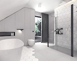 Projekt 13 - Średnia szara łazienka w domu jednorodzinnym z oknem, styl nowoczesny - zdjęcie od Pracownia projektowania wnętrz Loci