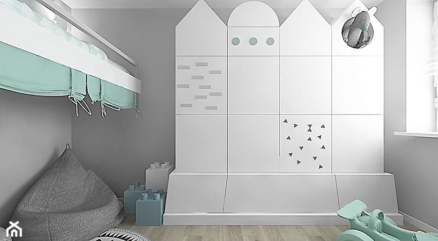 projekt 7 - Mały szary pokój dziecka dla chłopca dla dziewczynki dla malucha, styl skandynawski - zdjęcie od Pracownia projektowania wnęrz Loci