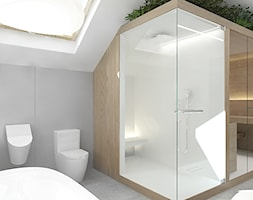 projekt 6 - Średnia biała szara łazienka na poddaszu w domu jednorodzinnym z oknem, styl nowoczesny - zdjęcie od Pracownia projektowania wnętrz Loci
