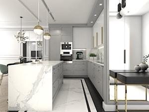 MIESZKANIE W NOWOJORSKIM KLIMACIE - Duża otwarta szara kuchnia w kształcie litery l z wyspą, styl nowojorski - zdjęcie od 3deko