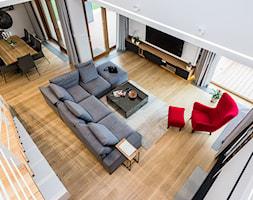 DOM W MICHAŁOWICACH - Duży salon z jadalnią z antresolą, styl nowoczesny - zdjęcie od 3deko