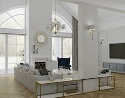 WILLA PARKOWA - Duży szary biały salon z jadalnią z tarasem / balkonem, styl nowojorski - zdjęcie od 3deko