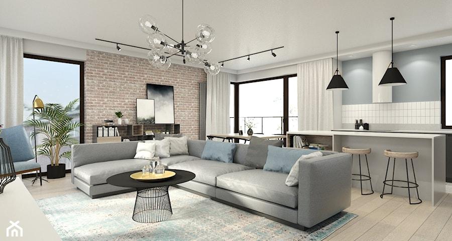 Mieszkanie w Warszawie - Duży szary salon z kuchnią z jadalnią z tarasem / balkonem, styl eklektyczny - zdjęcie od 3deko