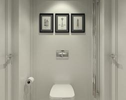DOM W PIASECZNIE - Mała szara łazienka w bloku w domu jednorodzinnym bez okna, styl klasyczny - zdjęcie od 3deko