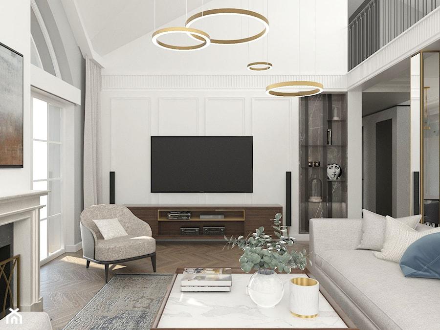 Aranżacje wnętrz - Salon: REZYDENCJA PARKOWA - Duży szary biały salon z tarasem / balkonem z antresolą, styl nowojorski - 3deko. Przeglądaj, dodawaj i zapisuj najlepsze zdjęcia, pomysły i inspiracje designerskie. W bazie mamy już prawie milion fotografii!