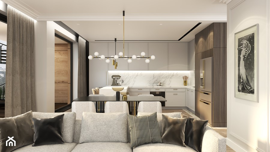MIESZKANIE PRZY PARKU - Średnia biała szara kuchnia w kształcie litery u w aneksie z oknem, styl nowoczesny - zdjęcie od 3deko