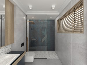 DOM W JÓZEFOSŁAWIU - Mała czarna szara łazienka na poddaszu w bloku w domu jednorodzinnym bez okna, styl industrialny - zdjęcie od 3deko