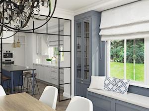 Dom w Michałowicach styl amerykański - Mała otwarta biała szara jadalnia jako osobne pomieszczenie, styl klasyczny - zdjęcie od 3deko