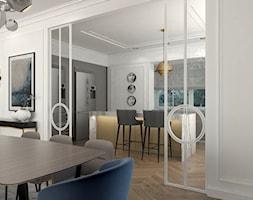 REZYDENCJA PARKOWA - Średnia zamknięta biała szara kuchnia jednorzędowa z wyspą z oknem, styl nowoj ... - zdjęcie od 3deko - Homebook