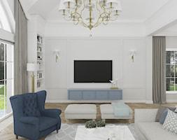 WILLA PARKOWA - Średni szary biały salon z bibiloteczką z jadalnią z tarasem / balkonem, styl tradycyjny - zdjęcie od 3deko