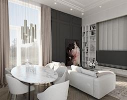WYSOKIE MIESZKANIE W KAMIENICY - Średni biały czarny salon z bibiloteczką z jadalnią z tarasem / balkonem, styl glamour - zdjęcie od 3deko