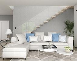 Dom w Poznaniu 2 - Mały szary biały salon, styl nowoczesny - zdjęcie od 3deko - Homebook