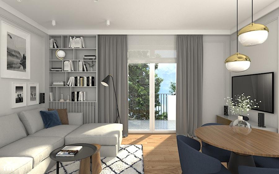 MIESZKANIE Z NUTĄ GRANATU - Średni szary salon z bibiloteczką z jadalnią z tarasem / balkonem, styl skandynawski - zdjęcie od 3deko