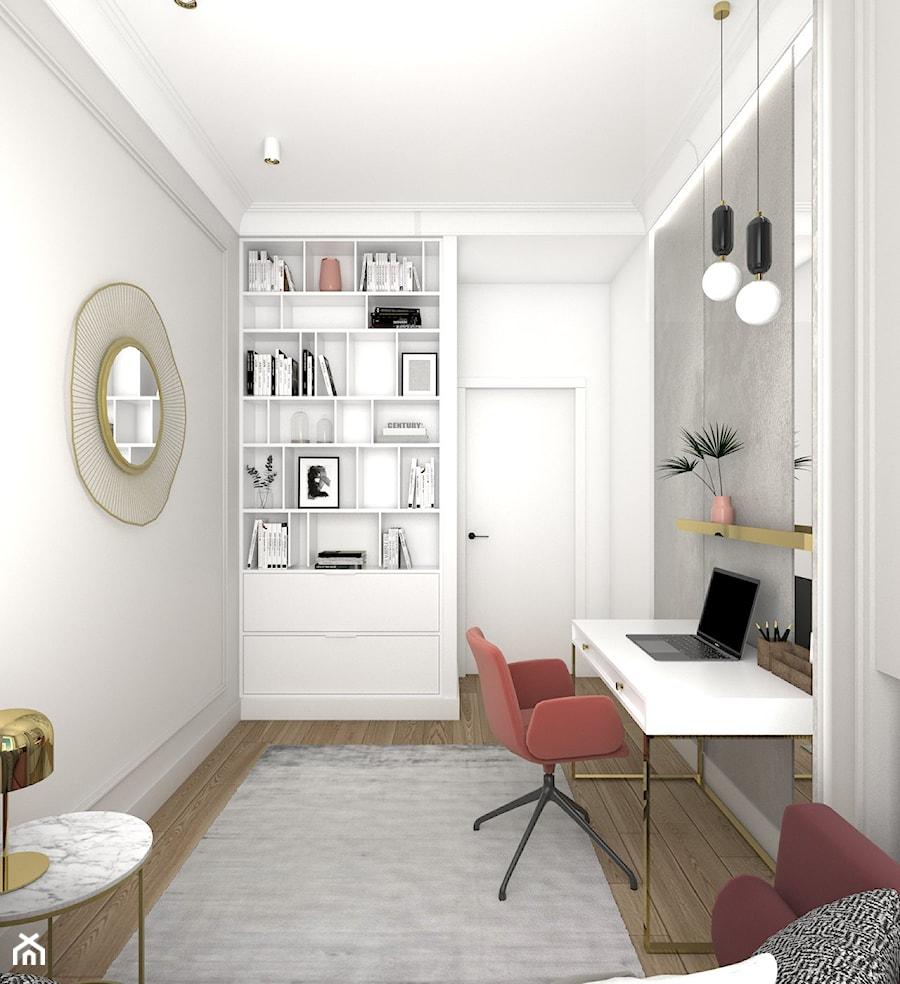 ELEGANCKI APARTAMENT NA ŻOLIBORZU - Średnie szare białe biuro domowe w pokoju, styl nowojorski - zdjęcie od 3deko