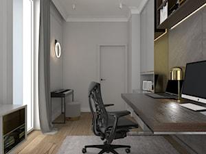 ELEGANCKI APARTAMENT NA ŻOLIBORZU - Małe szare białe biuro domowe kącik do pracy w pokoju, styl nowoczesny - zdjęcie od 3deko