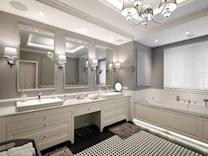 DOM W WILANOWIE - Duża szara łazienka w domu jednorodzinnym z oknem, styl klasyczny - zdjęcie od 3deko