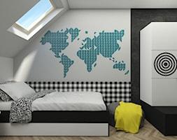 DOM W PIASECZNIE - Mały szary czarny pokój dziecka dla chłopca dla nastolatka, styl skandynawski - zdjęcie od 3deko