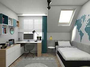DOM W PIASECZNIE - Średni szary pokój dziecka dla chłopca dla ucznia dla nastolatka, styl skandynawski - zdjęcie od 3deko