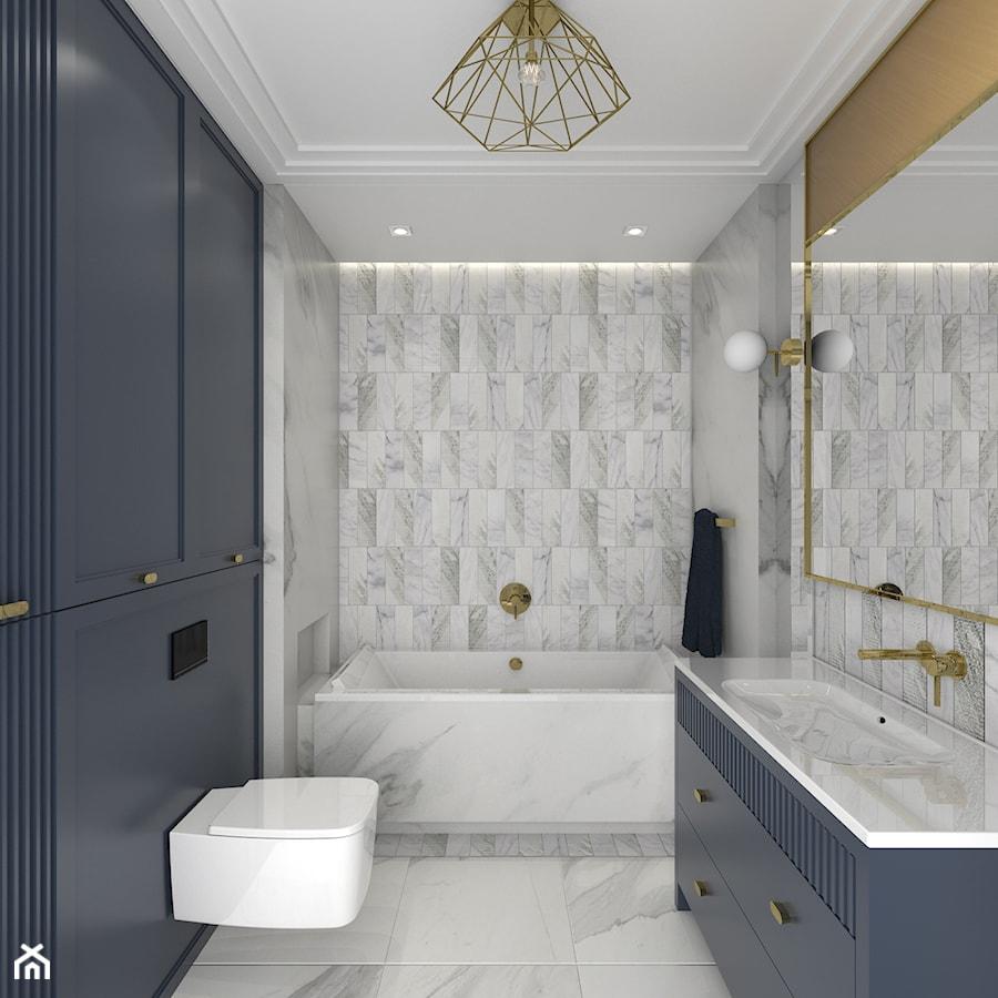 MIESZKANIE W NOWOJORSKIM KLIMACIE - Średnia szara łazienka w bloku w domu jednorodzinnym bez okna, styl nowojorski - zdjęcie od 3deko