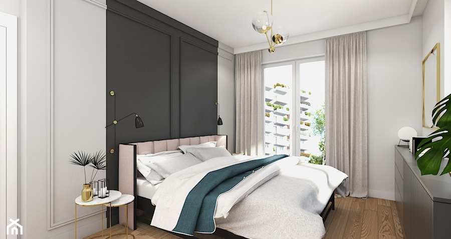 MIESZKANIE Z NUTĄ GRANATU - Średnia biała czarna sypialnia małżeńska z balkonem / tarasem, styl nowoczesny - zdjęcie od 3deko