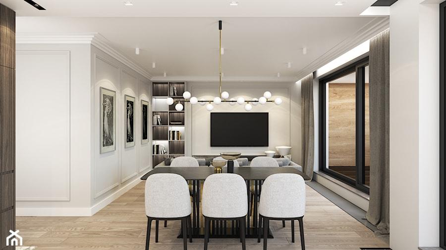 MIESZKANIE PRZY PARKU - Średni szary biały salon z bibiloteczką z jadalnią z tarasem / balkonem, styl nowoczesny - zdjęcie od 3deko