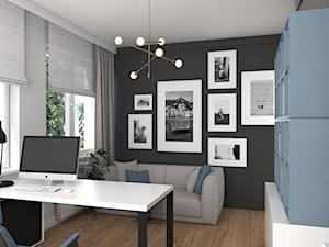 MIESZKANIE Z NUTĄ GRANATU - Średnie czarne szare biuro domowe kącik do pracy w pokoju, styl nowoczesny - zdjęcie od 3deko