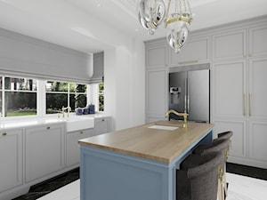 WILLA PARKOWA - Średnia otwarta szara kuchnia w kształcie litery l z wyspą z oknem, styl klasyczny - zdjęcie od 3deko