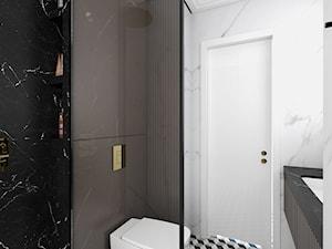MIESZKANIE W NOWOJORSKIM KLIMACIE - Mała biała czarna łazienka w bloku w domu jednorodzinnym bez okna, styl art deco - zdjęcie od 3deko