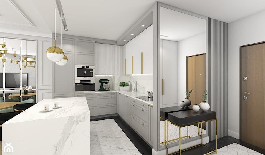 MIESZKANIE W NOWOJORSKIM KLIMACIE - Średnia biała szara kuchnia w kształcie litery l w aneksie z wyspą, styl nowojorski - zdjęcie od 3deko