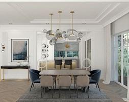 REZYDENCJA PARKOWA - Duża otwarta szara jadalnia w salonie, styl nowojorski - zdjęcie od 3deko