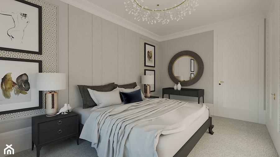 REZYDENCJA PARKOWA - Średnia szara sypialnia małżeńska, styl klasyczny - zdjęcie od 3deko