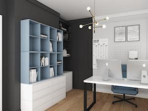 MIESZKANIE Z NUTĄ GRANATU - Średnie czarne szare białe biuro domowe w pokoju, styl nowoczesny - zdjęcie od 3deko
