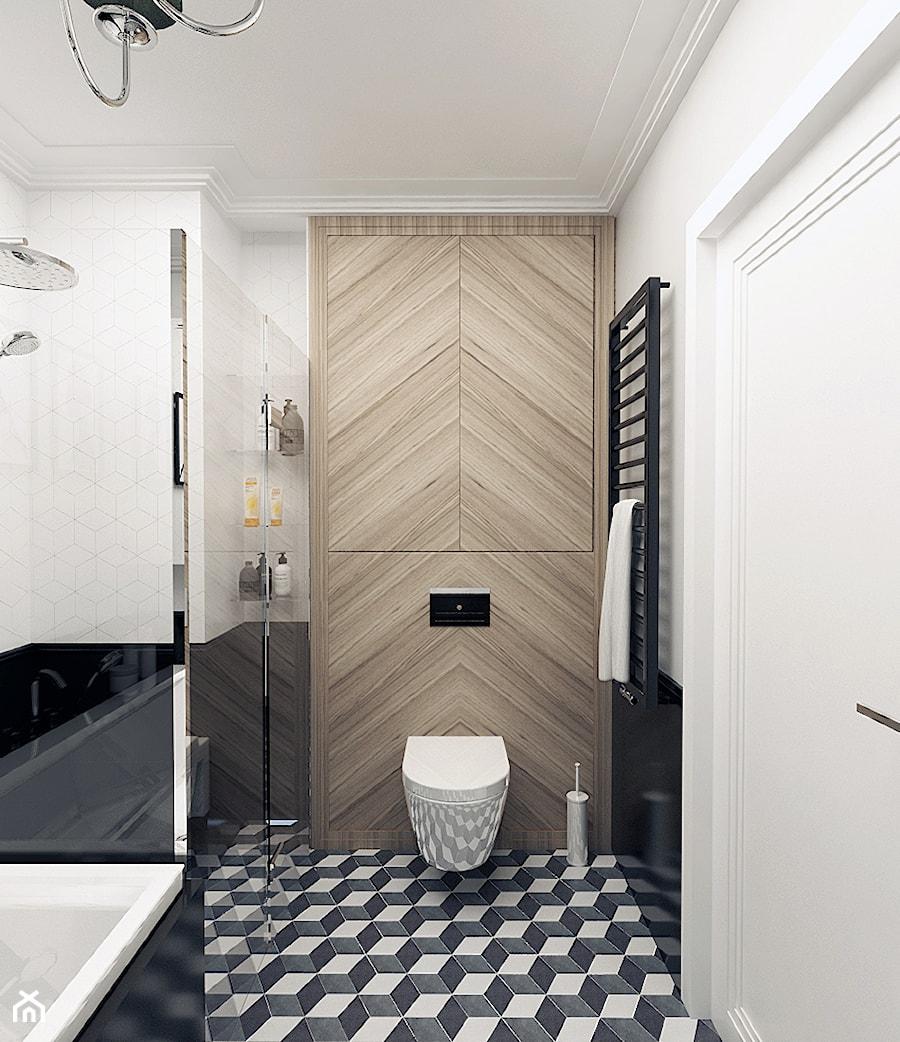 Aranżacje wnętrz - Łazienka: ŁAZIENKI - Mała biała czarna łazienka na poddaszu w bloku w domu jednorodzinnym bez okna, styl nowoczesny - 3deko. Przeglądaj, dodawaj i zapisuj najlepsze zdjęcia, pomysły i inspiracje designerskie. W bazie mamy już prawie milion fotografii!