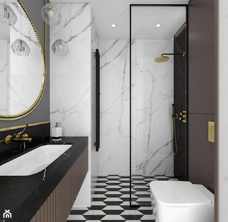 MIESZKANIE W NOWOJORSKIM KLIMACIE - Średnia biała szara łazienka w bloku w domu jednorodzinnym bez okna, styl nowojorski - zdjęcie od 3deko