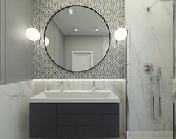 MIESZKANIE W STYLU NOWOJORSKIM - Średnia biała szara kolorowa łazienka w bloku w domu jednorodzinnym, styl nowojorski - zdjęcie od 3deko