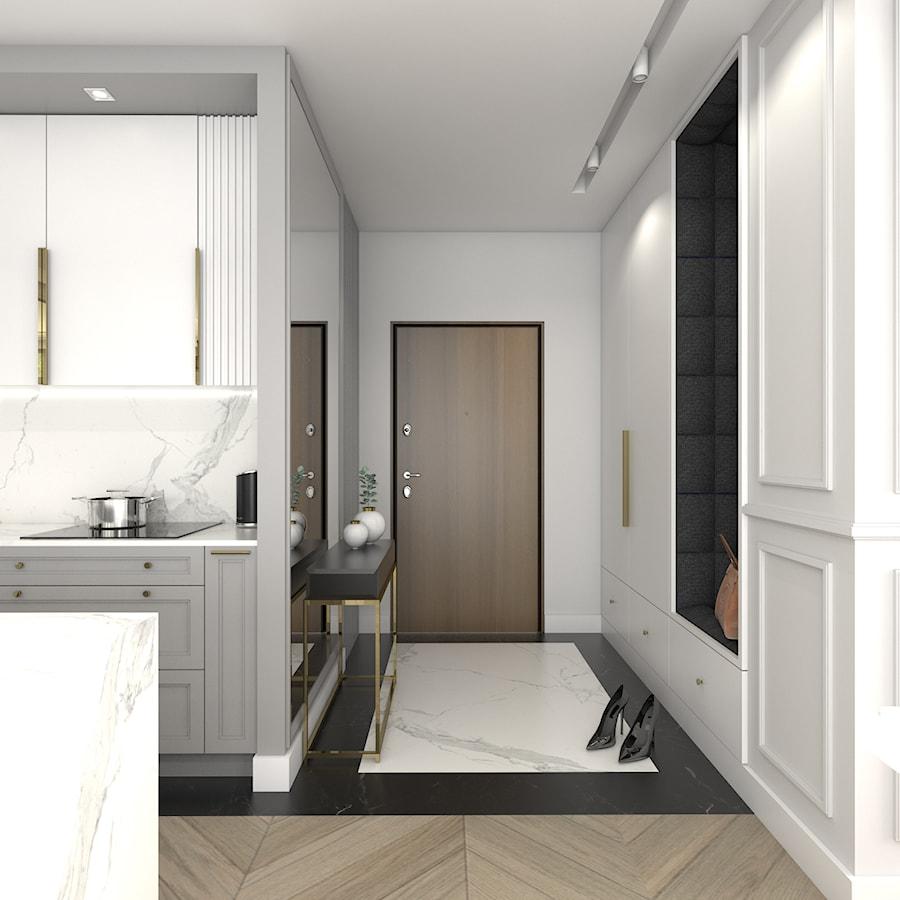 MIESZKANIE W NOWOJORSKIM KLIMACIE - Średni biały hol / przedpokój, styl nowojorski - zdjęcie od 3deko