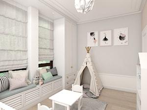 MIESZKANIE W NOWOJORSKIM KLIMACIE - Średni szary beżowy pokój dziecka dla dziewczynki dla malucha, styl nowojorski - zdjęcie od 3deko