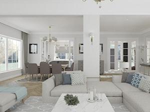 WILLA PARKOWA - Średni szary salon z jadalnią z tarasem / balkonem, styl klasyczny - zdjęcie od 3deko