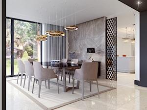 DOM W RADOŚCI - Duża otwarta biała beżowa czarna jadalnia jako osobne pomieszczenie, styl nowoczesny - zdjęcie od 3deko