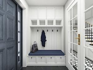 Dom w Michałowicach styl amerykański - Średni biały hol / przedpokój, styl klasyczny - zdjęcie od 3deko