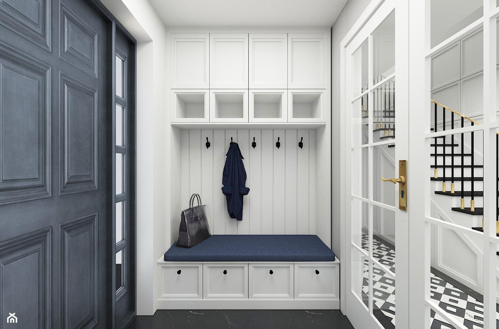 Dom w Michałowicach styl amerykański - Średni biały hol / przedpokój, styl klasyczny - zdjęcie od 3deko - Homebook