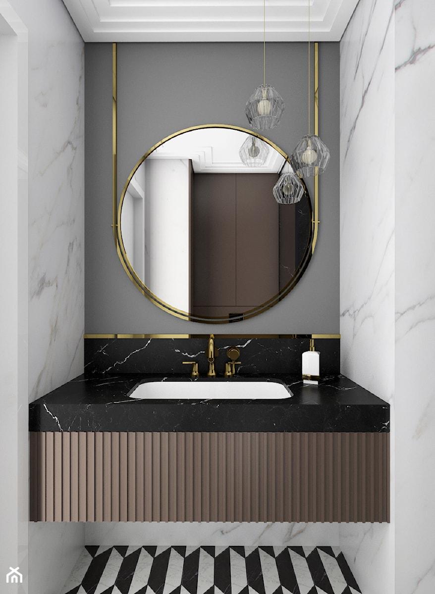 MIESZKANIE W NOWOJORSKIM KLIMACIE - Mała szara łazienka w bloku w domu jednorodzinnym bez okna, styl nowojorski - zdjęcie od 3deko