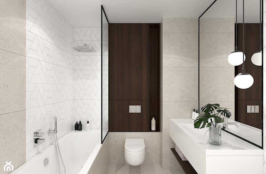 MIESZKANIE Z NUTĄ GRANATU - Średnia łazienka w bloku w domu jednorodzinnym bez okna, styl nowoczesny - zdjęcie od 3deko