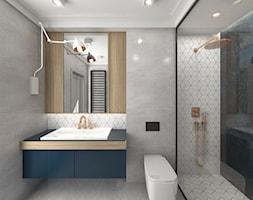 ŁAZIENKI - Średnia szara łazienka na poddaszu w bloku w domu jednorodzinnym bez okna, styl industrialny - zdjęcie od 3deko