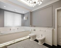 DOM W WILANOWIE - Średnia biała szara łazienka w domu jednorodzinnym z oknem, styl klasyczny - zdjęcie od 3deko