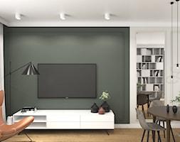NOWOCZESNY APARTAMENT - Średni szary biały salon z bibiloteczką z kuchnią z jadalnią, styl nowoczesny - zdjęcie od 3deko