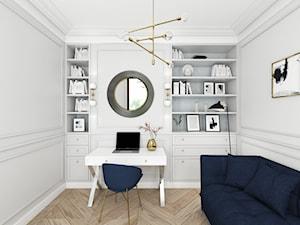 MIESZKANIE W NOWOJORSKIM KLIMACIE - Średnie szare białe biuro kącik do pracy w pokoju, styl nowojorski - zdjęcie od 3deko