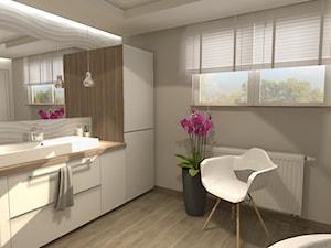 Łazienka - Średnia szara łazienka na poddaszu w bloku w domu jednorodzinnym z oknem, styl skandynawski - zdjęcie od GlamStyle Paula Pińkowska